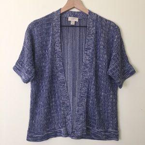 LOFT | Purple Marl Short Sleeve Open Cardigan Sz M